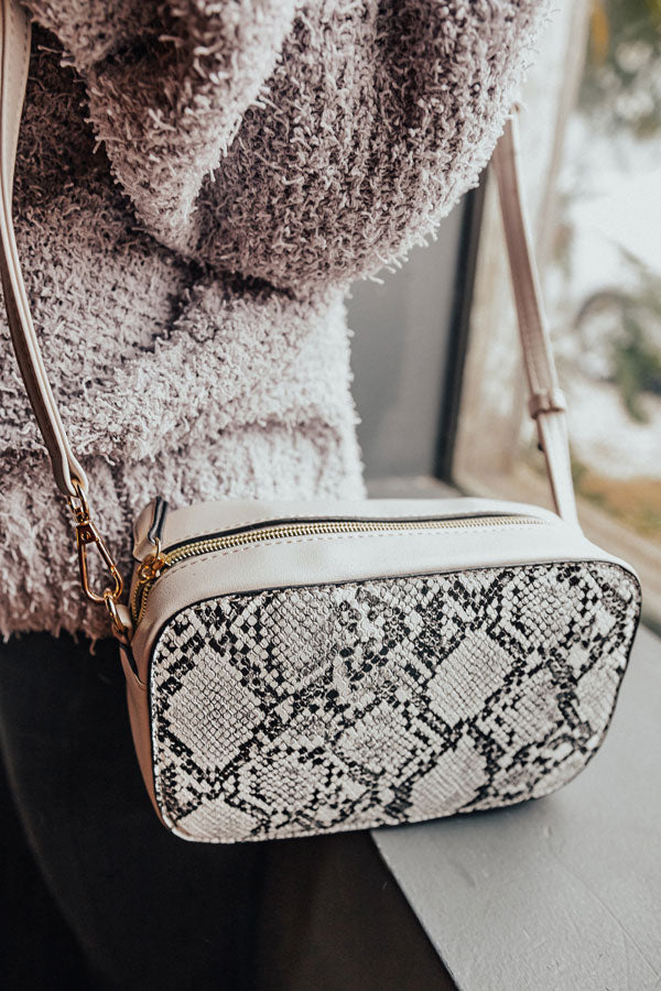 Bliss List Snake Print Crossbody In Grey