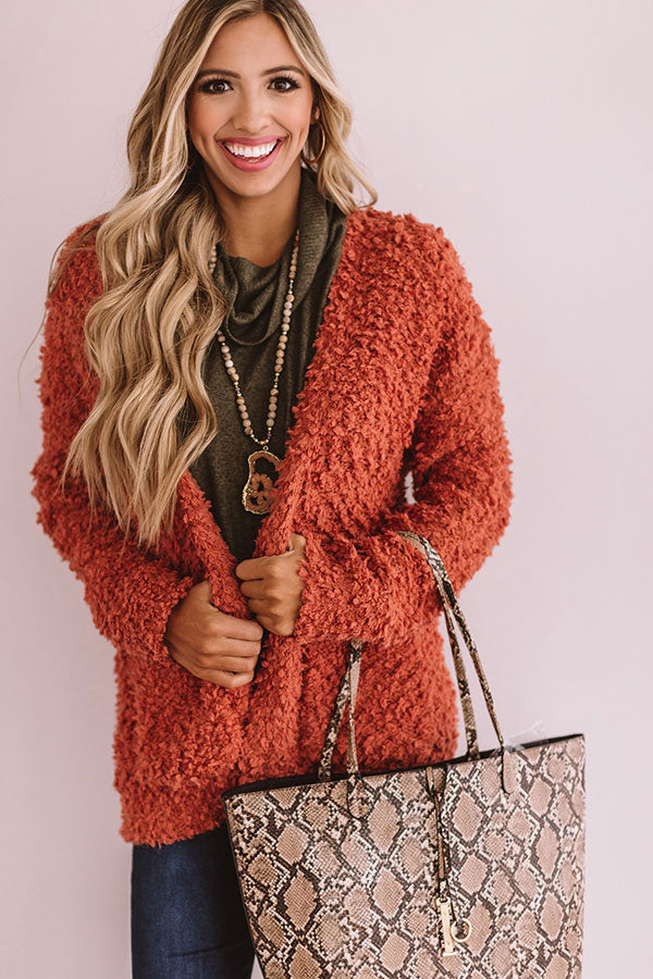 Marshmallow Delight Knit Cardigan In Tangerine