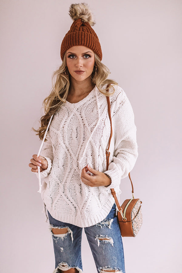 Posh Times Cable Knit Hoodie In White