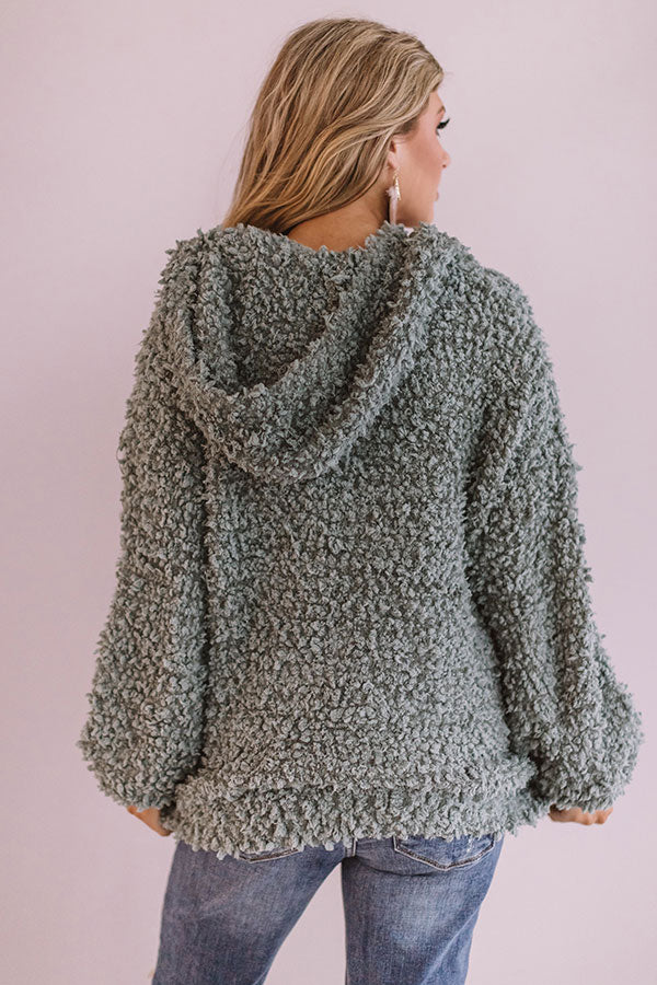 Snow Retreat Knit Hoodie in Pear