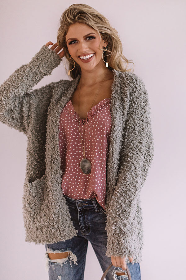 Marshmallow Delight Knit Cardigan In Pear