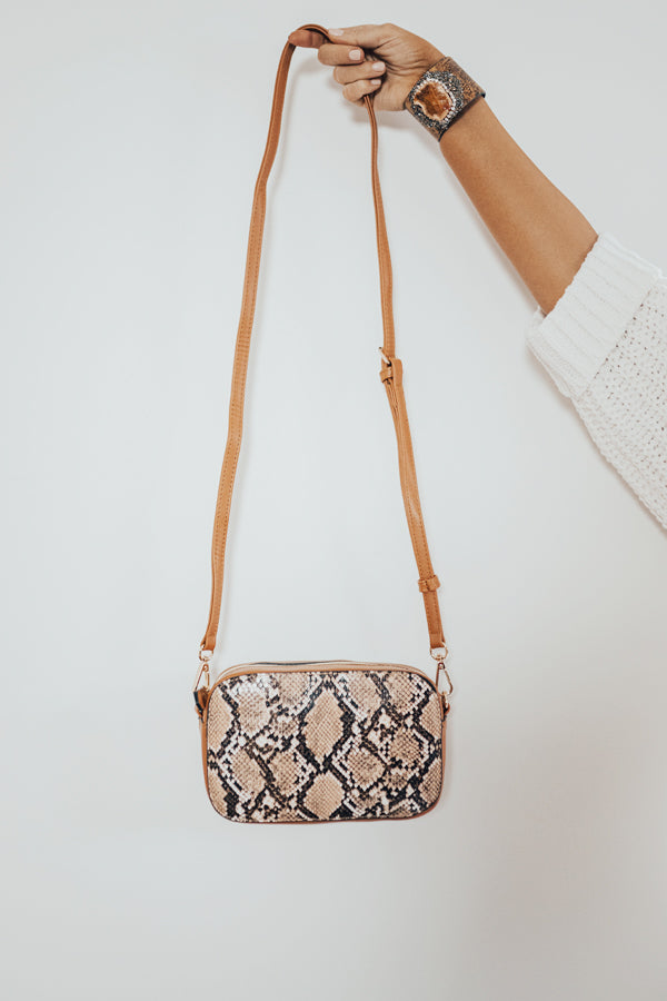 Bliss List Snake Print Crossbody In Brown
