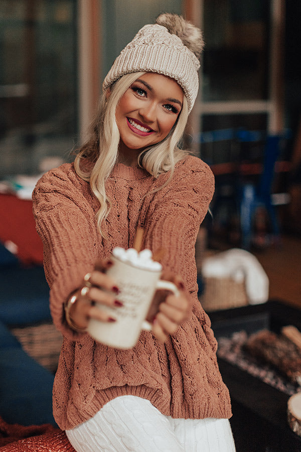 Cuddles Forever Cable Knit Sweater in Camel