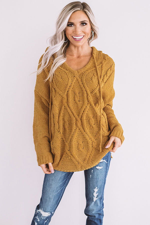 Posh Times Cable Knit Hoodie In Mustard
