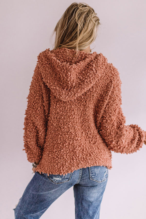 Snow Retreat Knit Hoodie in Light Rust