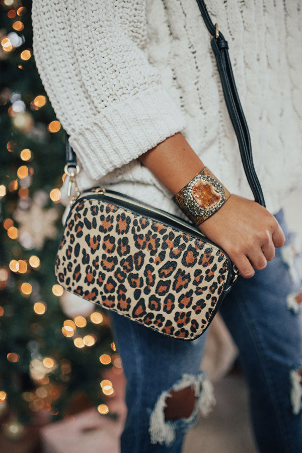 Pure Grandeur Leopard Crossbody In Black