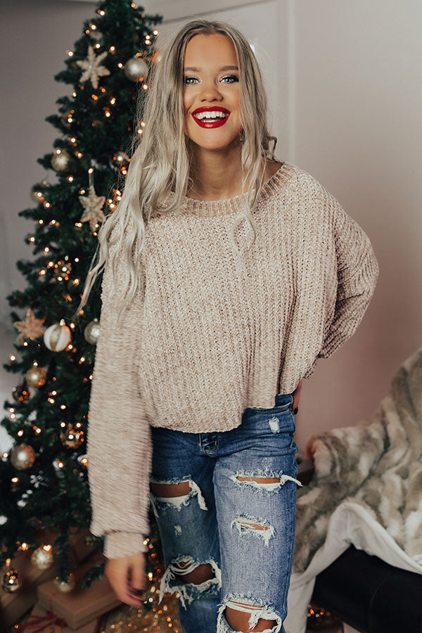 Denver Date Night Cropped Chenille Sweater in Birch