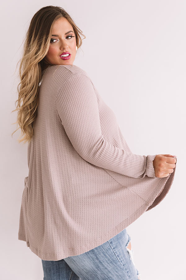 Swipe Up Waffle Knit Shift Top In Taupe