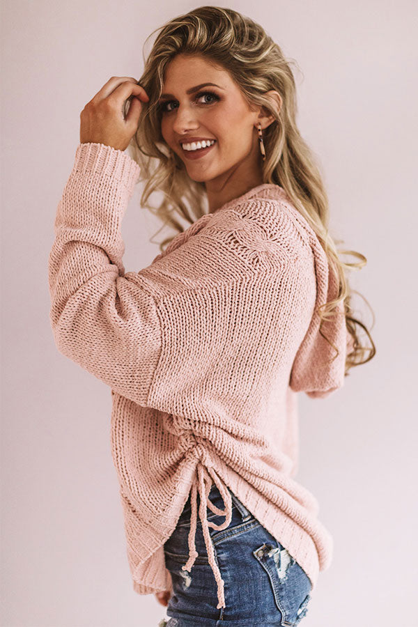 Posh Times Cable Knit Hoodie In Pink