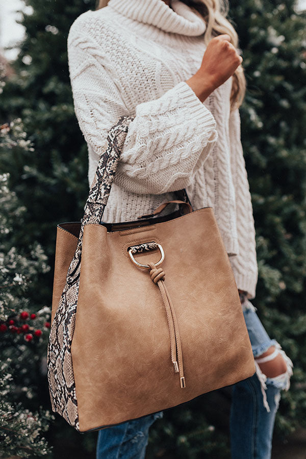 The City Life Faux Leather Tote In Tan