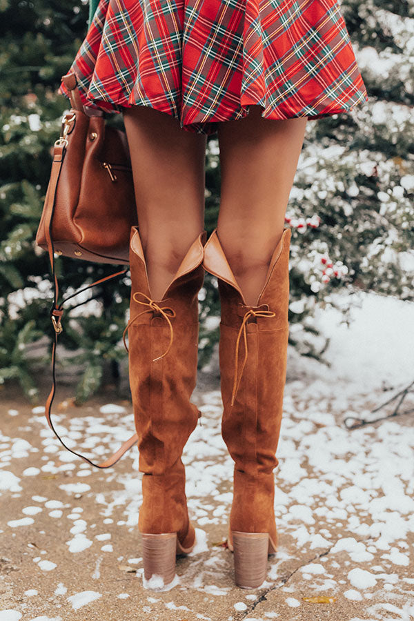 The Eleanor Faux Suede Knee High Boot In Cinnamon