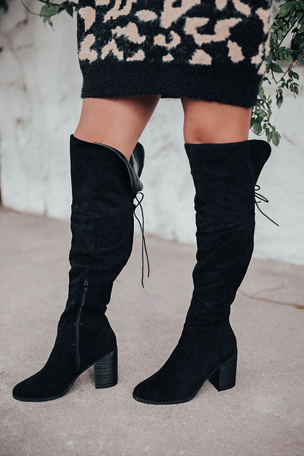 The Eleanor Faux Suede Knee High Boot In Black