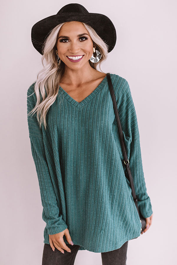 True Wanderlust Ribbed Shift Top In Jade