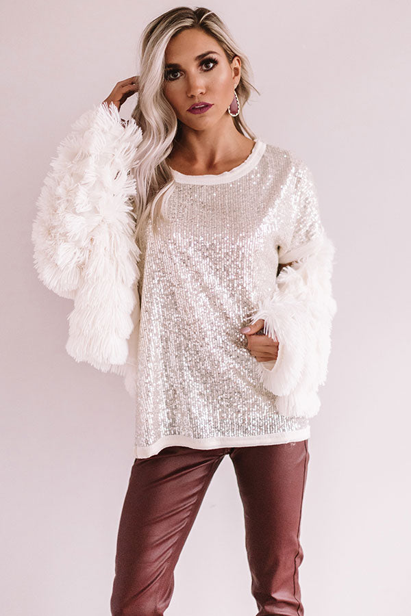 Sparkling Personality Sequin Shift Top in Champagne
