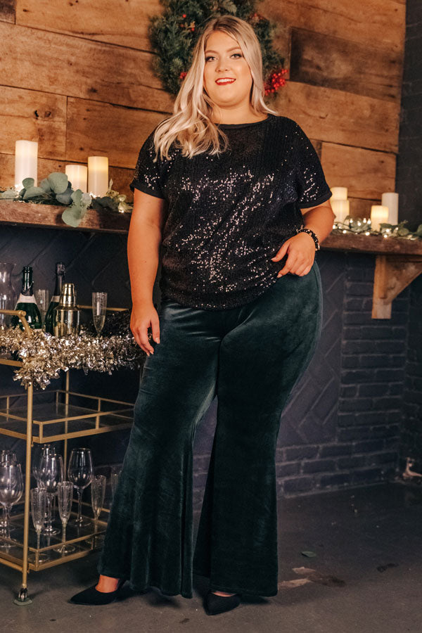 Sparkling Personality Sequin Shift Top in Black