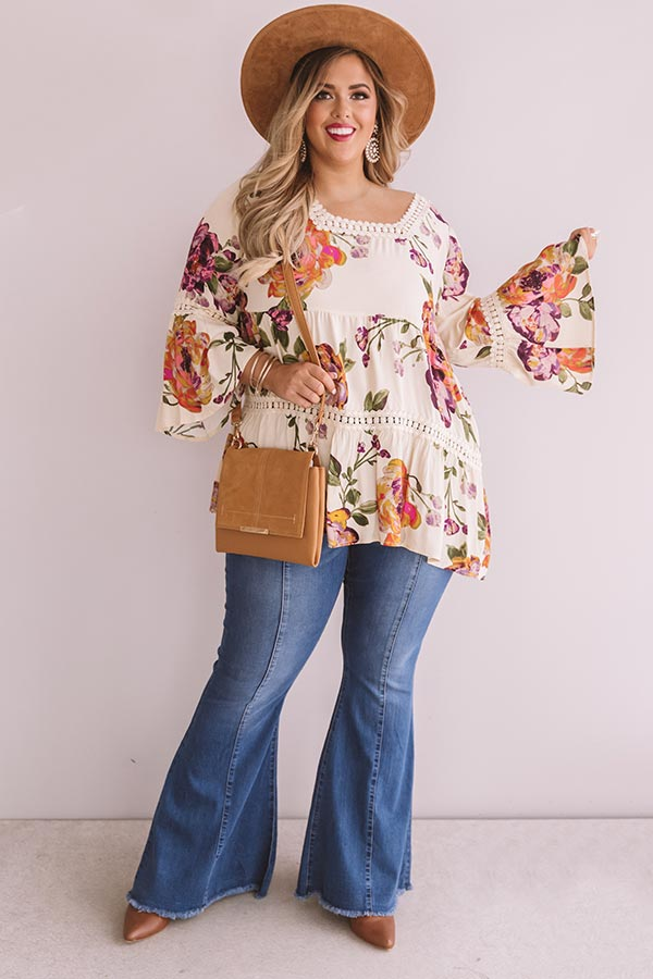 Bold And Blissful Floral Shift Top In Cream