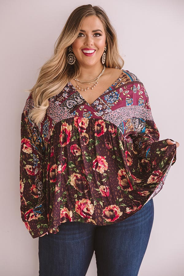 Moment Of Bliss Floral Shift Top In Windsor Wine