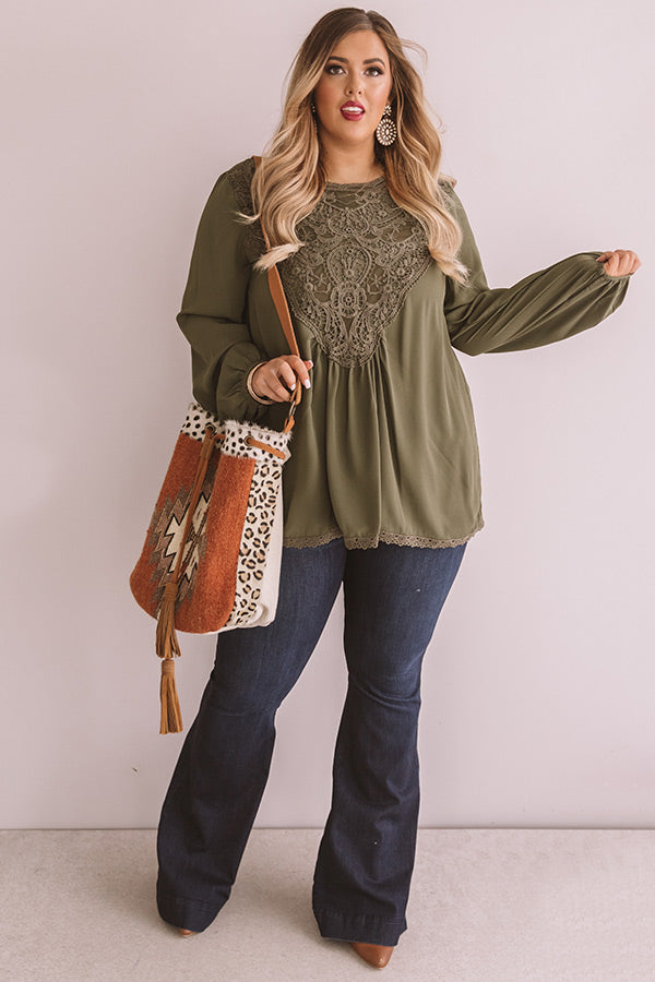 Dear And Divine Crochet Shift Top In Olive
