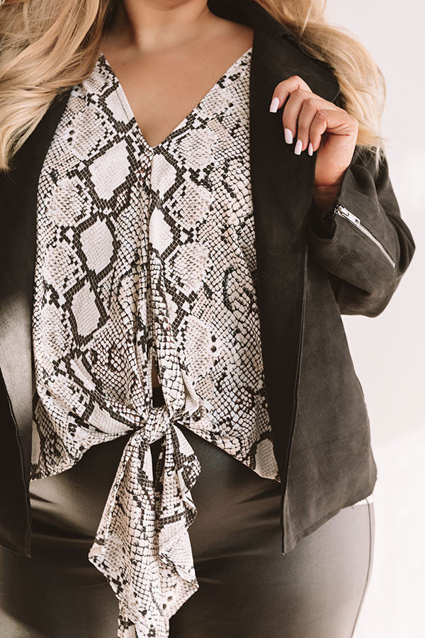 Showing Up Chic Snake Print Tie Top