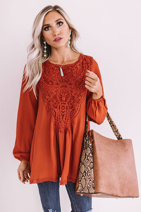 Dear And Divine Crochet Shift Top In Rust