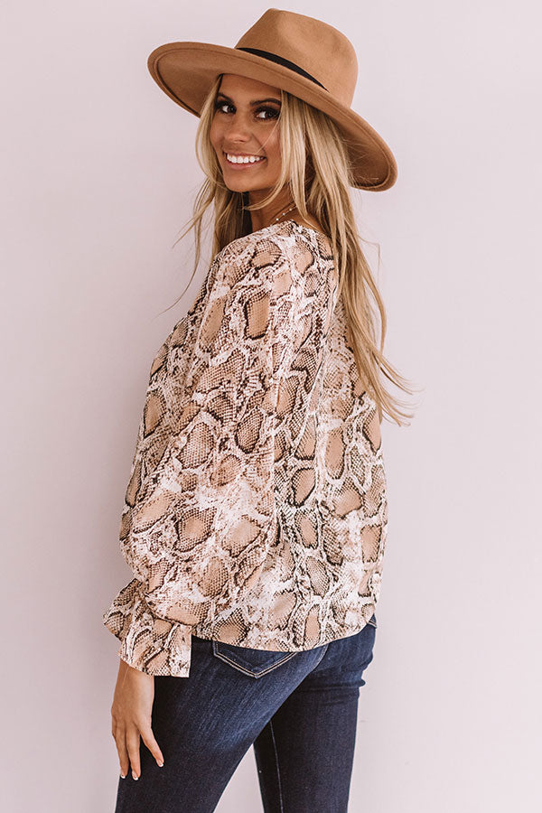 Pure Grandeur Snake Print Top in Brown