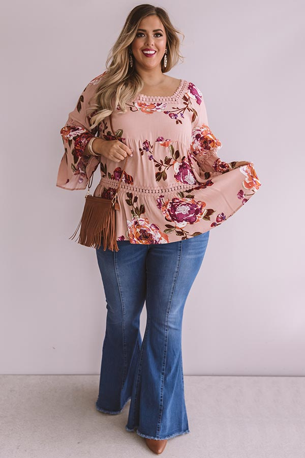 Bold And Blissful Floral Shift Top In Blush