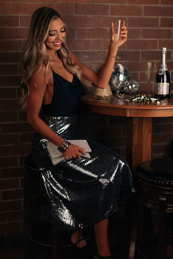 Dance All Night Sequin Midi Skirt in Silver