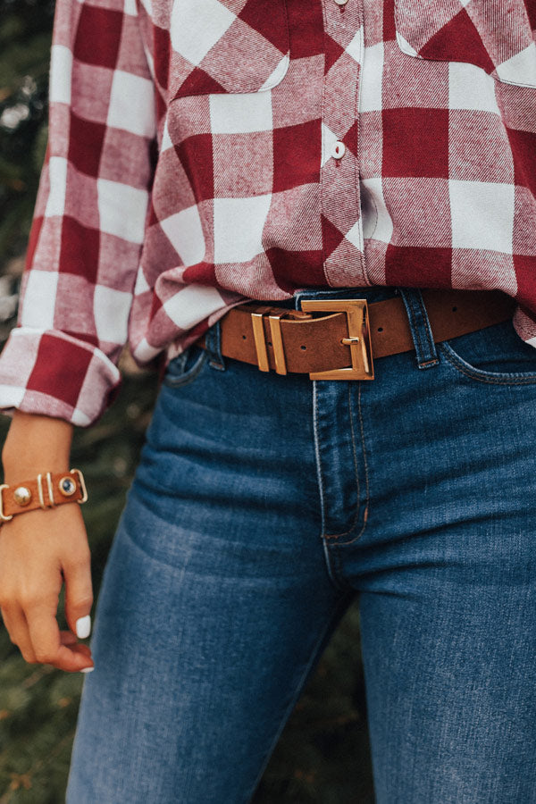 Fame Game Faux Suede Belt in Brown