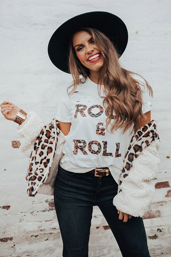 Rock And Roll Leopard Distressed Boyfriend Tee