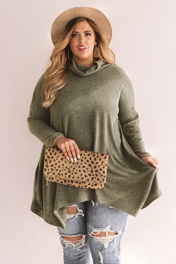 Favorite Season Of All Tunic Sweater In Olive