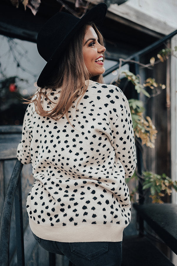 Sugar And Chic Leopard Sweater In Champagne