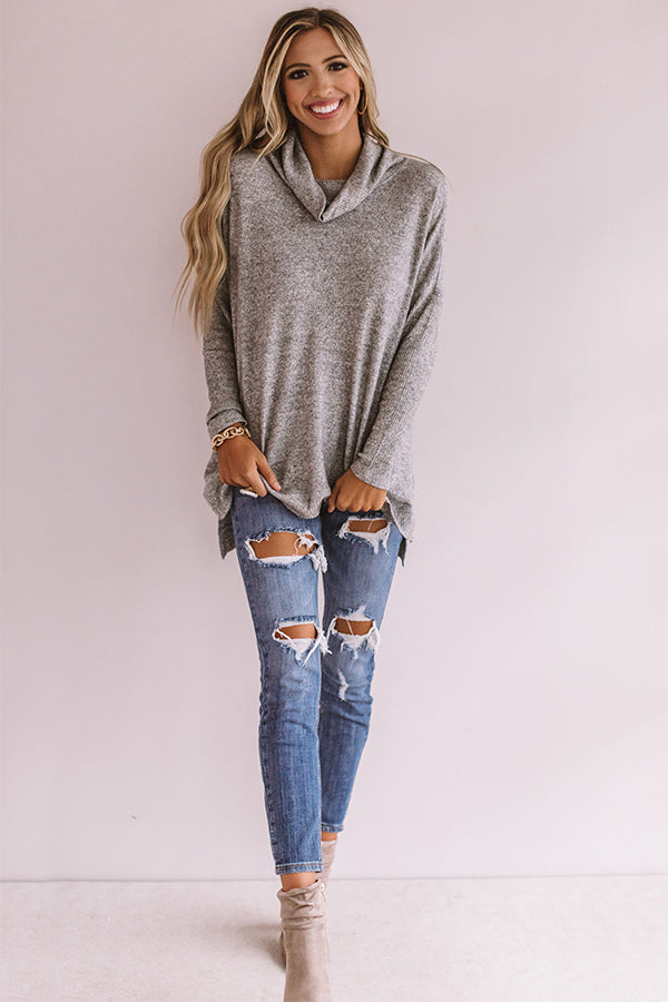 Season Of Happiness Shift Top In Grey