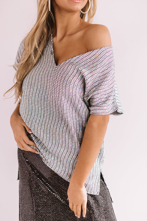 Timeless Beauty Metallic Shift Top In Iridescent Silver