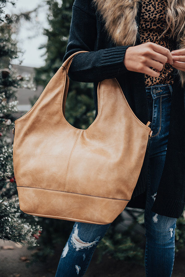 The Real Deal Faux Leather Tote In Tan
