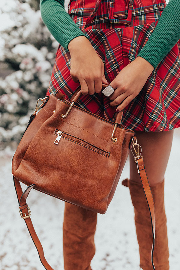 Style Maven Faux Leather Tote In Brown