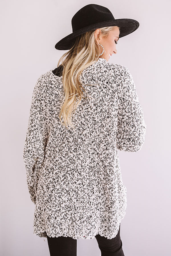 Bombshell Snuggles Knit Cardigan In Peppered Ivory