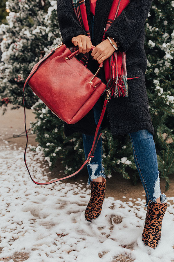 Style Maven Faux Leather Tote In Red
