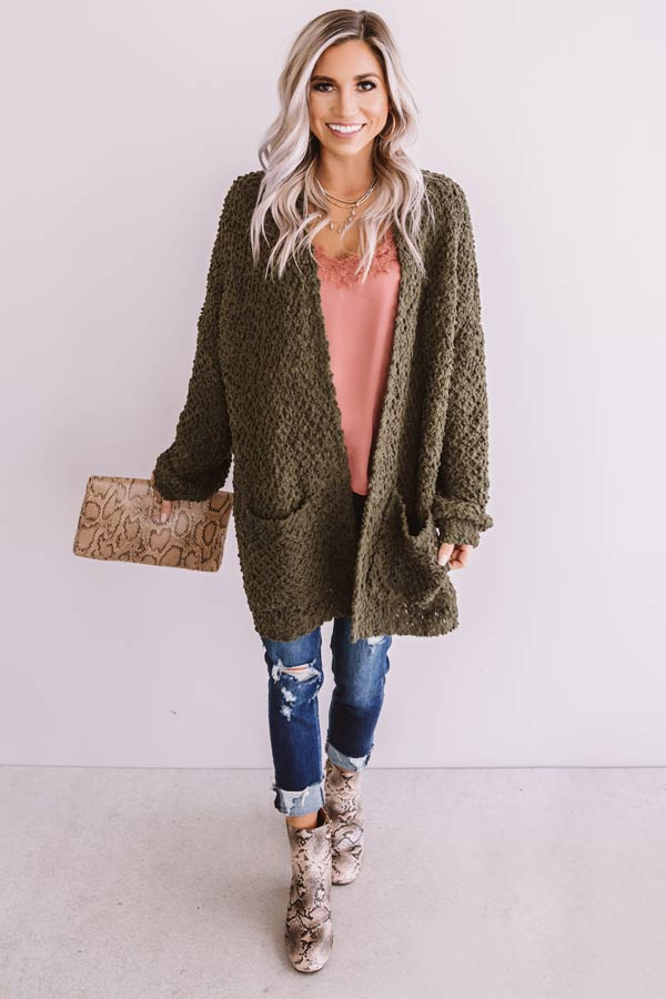 Bombshell Snuggles Knit Cardigan In Army Green