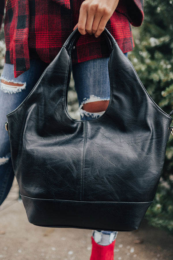 The Real Deal Faux Leather Tote In Black