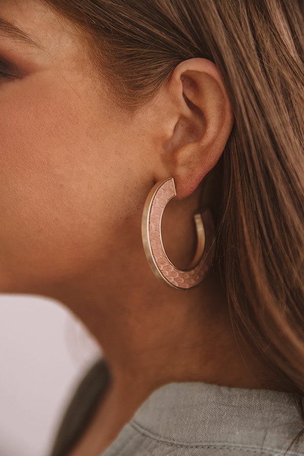 New Heights Snake Print Hoop Earrings In Iced Mocha