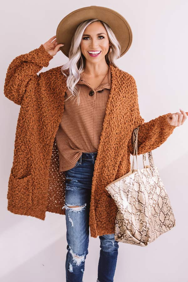 Bombshell Snuggles Knit Cardigan In Cinnamon