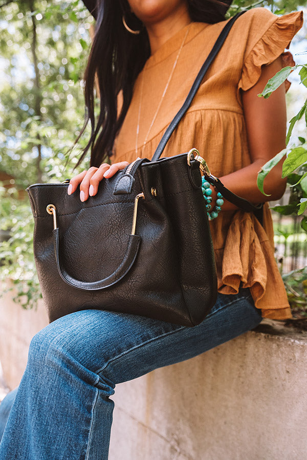 Style Maven Faux Leather Tote In Black