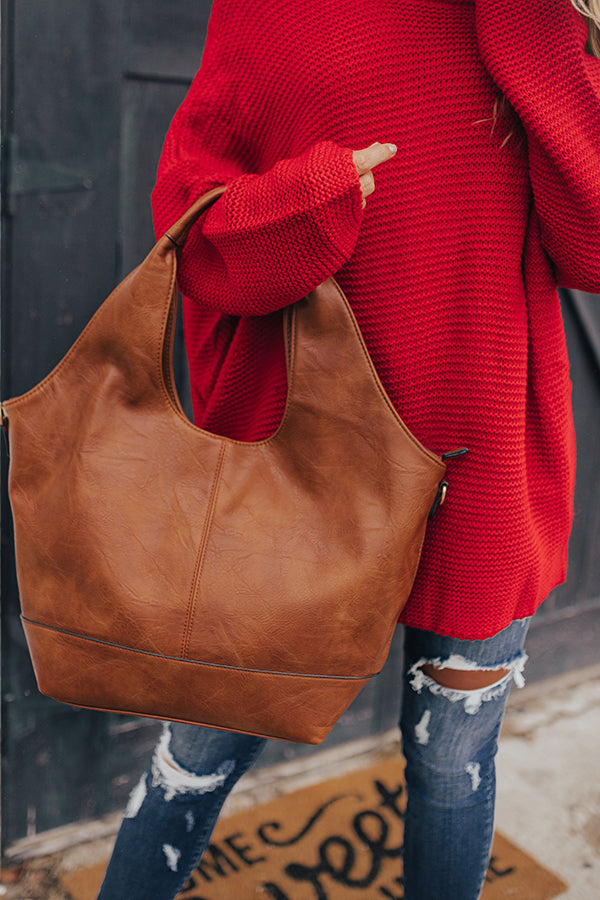 The Real Deal Faux Leather Tote In Cinnamon