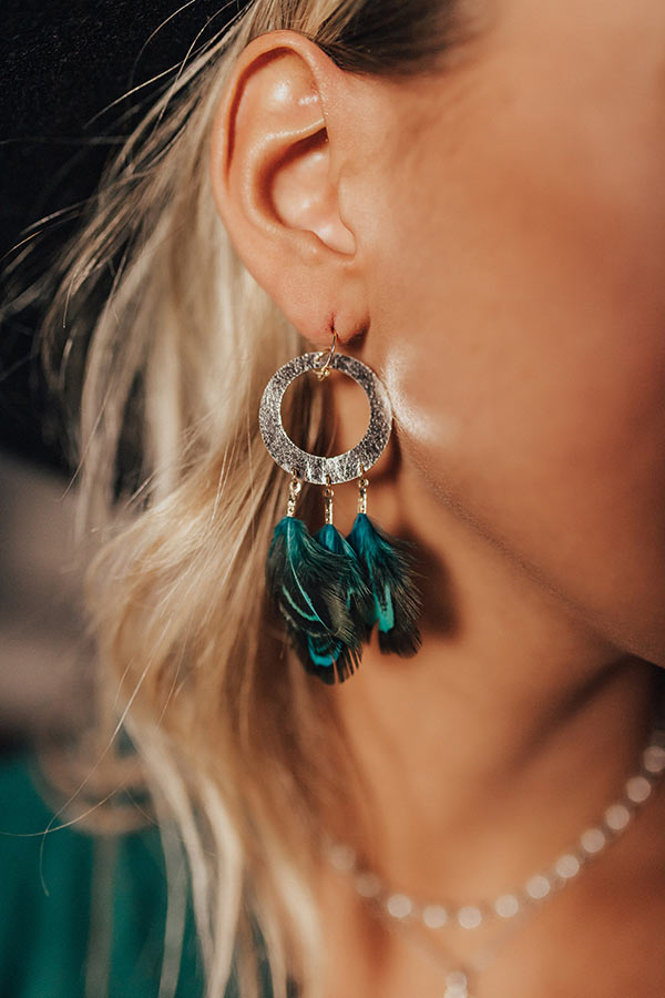 In The Mix Feather Earrings In Jade