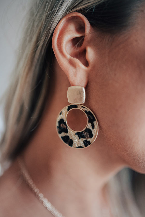 Good Old Days Leopard Earrings In Brown