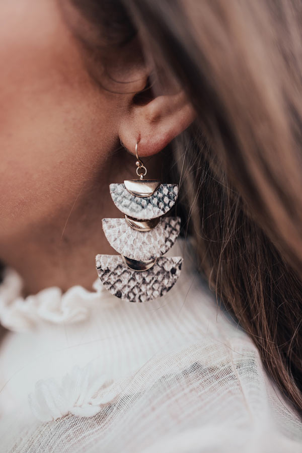 Chicest Of Times Snake Print Earrings In Taupe