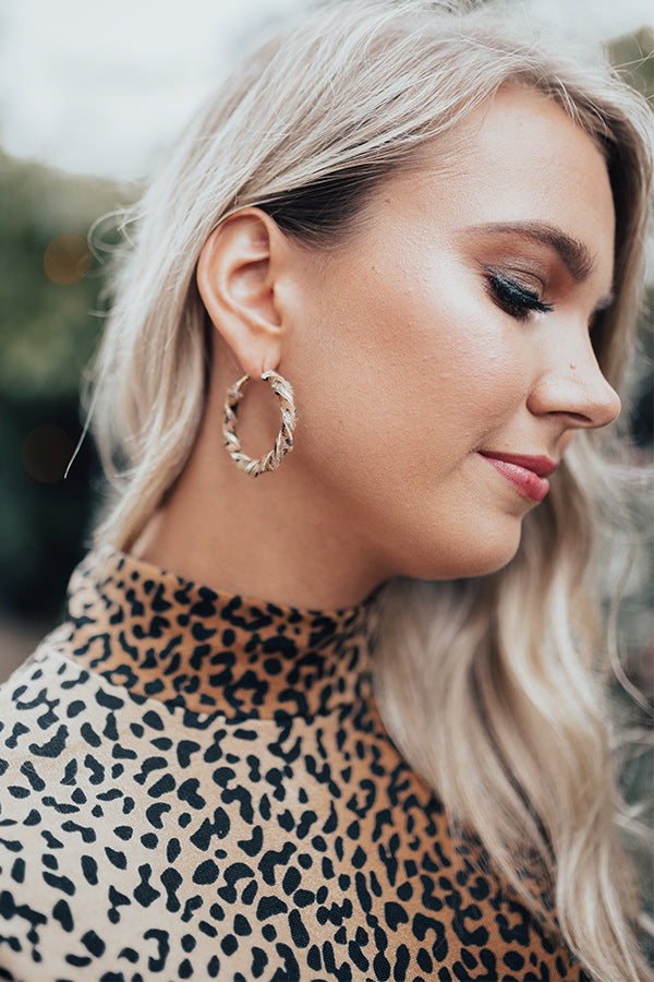 Irresistibly Yours Leopard Hoop Earrings In Brown