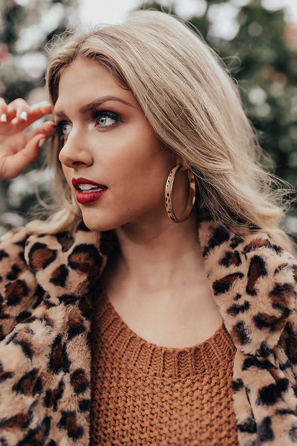 Long Distance Love Leopard Earrings In Brown