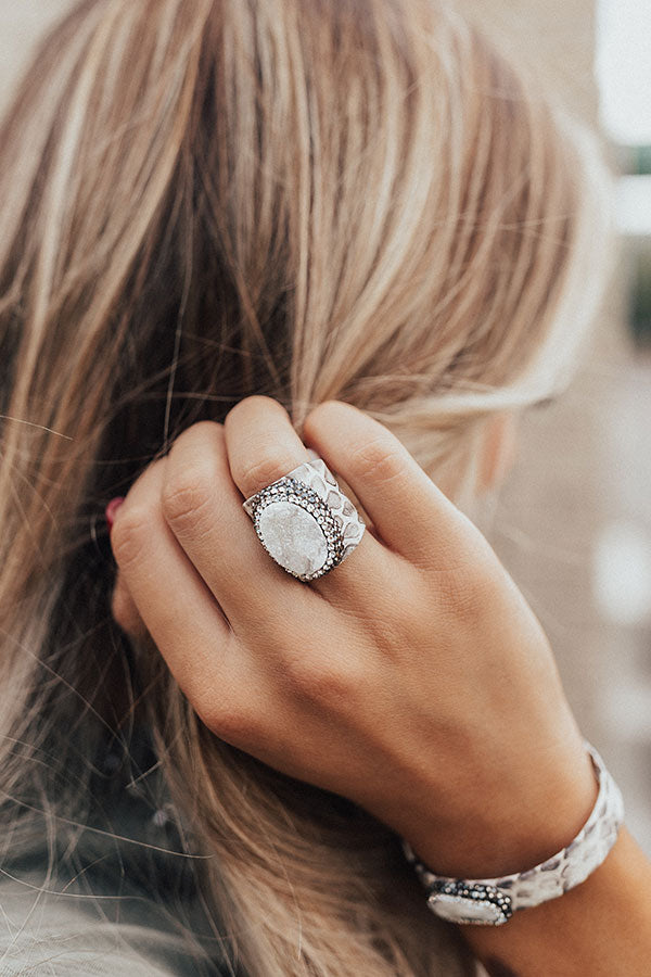 Unforgettable Night Druzy Snake Print Ring In Ivory