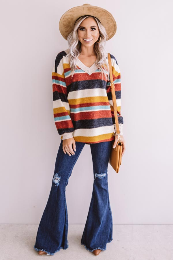 Bliss By The Fire Stripe Sweater In Red